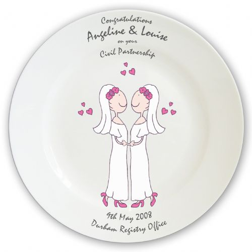 Personalised Female Wedding & Civil Partnership Plate